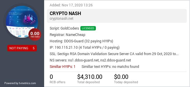 HYIPLogs.com widget for cryptonash.net