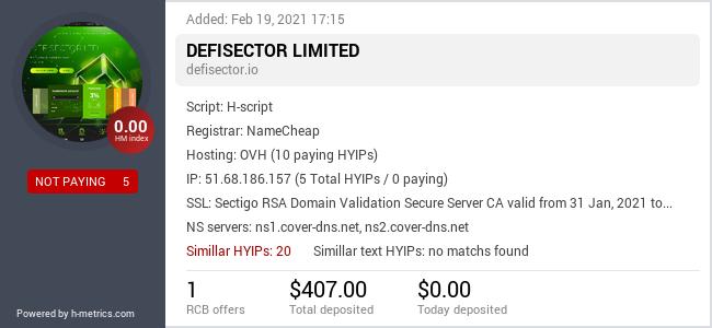 HYIPLogs.com widget for defisector.io
