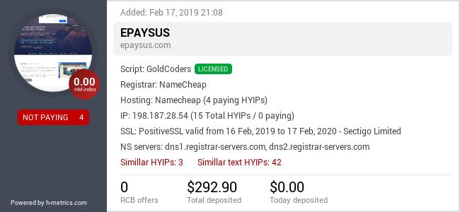 HYIPLogs.com widget for epaysus.com