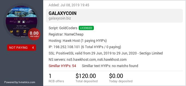 HYIPLogs.com widget for galaxycoin.biz