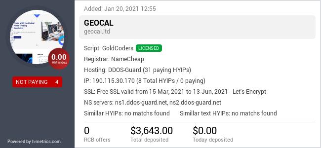 HYIPLogs.com widget for geocal.ltd