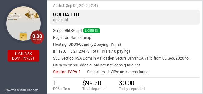 HYIPLogs.com widget for golda.ltd