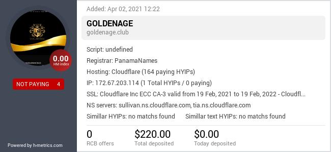 HYIPLogs.com widget for goldenage.club