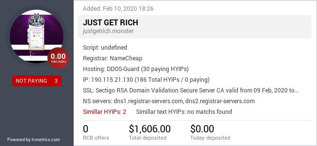 HYIPLogs.com widget for justgetrich.monster