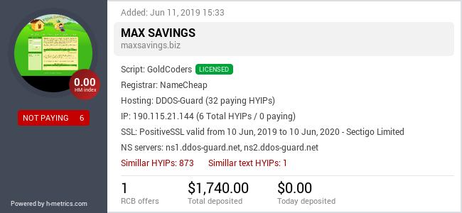HYIPLogs.com widget for maxsavings.biz