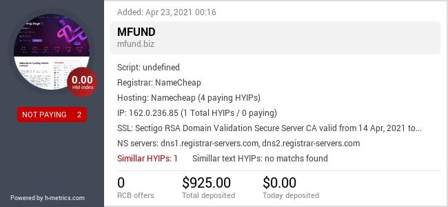 HYIPLogs.com widget for mfund.biz