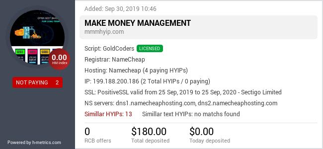 HYIPLogs.com widget for mmmhyip.com