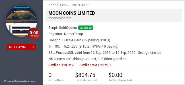 HYIPLogs.com widget for mooncoins.biz