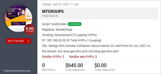 HYIPLogs.com widget for mtgroups.io