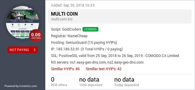 HYIPLogs.com widget for multi-coin.biz