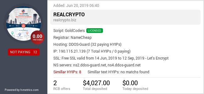 HYIPLogs.com widget for realcrypto.biz