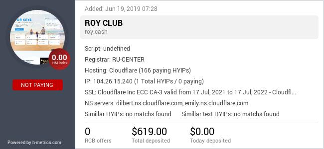 HYIPLogs.com widget for roy.cash