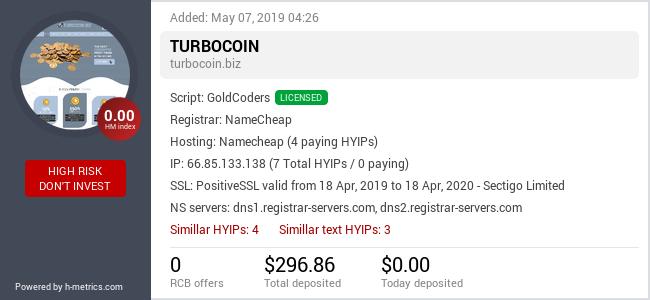 HYIPLogs.com widget for turbocoin.biz