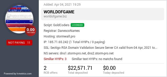 HYIPLogs.com widget for worldofgame.biz